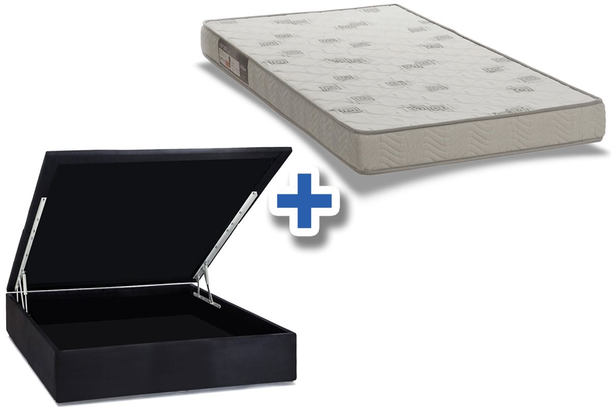 Conjunto Box: Colchão Ortobom Espuma D23 Light + Cama Box Baú Courino Nero Black