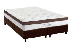 Conjunto Cama Box - Colchão Anjos de Molas Superlastic New King Pillow Euro + Cama Box Universal Nobuck Rosolare Café